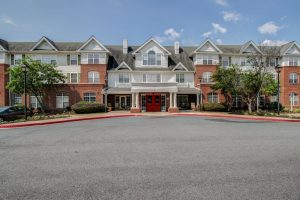 Charter Senior Living of Woodholme Crossing Image Gallery - Wide Shot of Front Entrance